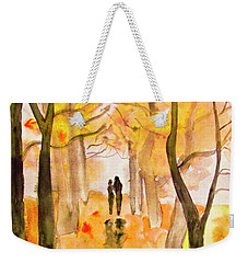 Couple On Autumn Alley, Painting Weekender Tote Bag