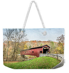 Covered Bridge In Pennsylvania During Autumn Weekender Tote Bag