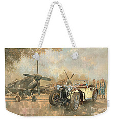 Cream Cracker Mg 4 Spitfires  Weekender Tote Bag by Peter Miller