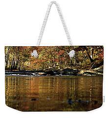 Creek Water Flowing Through Woods In Autumn Weekender Tote Bag