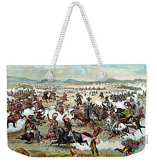 Weekender Tote Bag featuring the painting Custer's Last Stand by War Is Hell Store