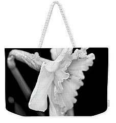 Weekender Tote Bag featuring the photograph Daffodil Flower Black And White by Jennie Marie Schell