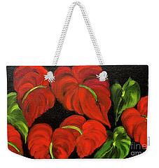 Dancing Anthuriums Weekender Tote Bag by Jenny Lee