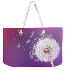 Dandelion Flying On Magenta Background Weekender Tote Bag