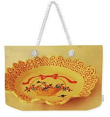 Decorated Plate With A Basket And Flowers Weekender Tote Bag
