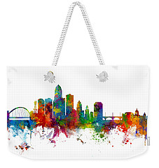 Des Moines Iowa Skyline Weekender Tote Bag by Michael Tompsett
