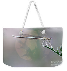 Dragonfly On Leaf Weekender Tote Bag by Michal Boubin