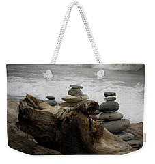 Driftwood Cairns Weekender Tote Bag by Kimberly Mackowski