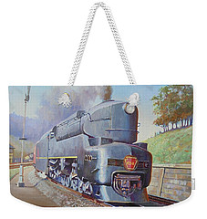Weekender Tote Bag featuring the painting Duplex Express by Mike Jeffries
