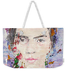 Weekender Tote Bag featuring the painting Emily Dickinson - Oil Portrait by Fabrizio Cassetta