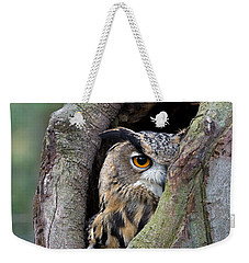 Eurasian Eagle-owl Bubo Bubo Looking Weekender Tote Bag by Rob Reijnen