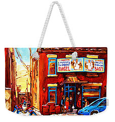 Fairmount Bagel In Winter Weekender Tote Bag by Carole Spandau