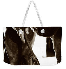 Weekender Tote Bag featuring the photograph Farrier At Work by Angela Rath