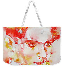 Weekender Tote Bag featuring the painting Federico Garcia Lorca - Watercolor Portrait by Fabrizio Cassetta