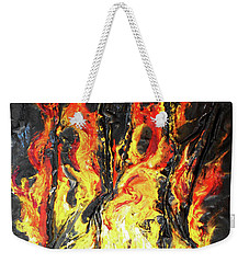 Weekender Tote Bag featuring the mixed media Fire Too by Angela Stout