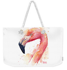 Flamingo Watercolor  Weekender Tote Bag by Olga Shvartsur
