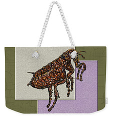 Flea On Abstract Beige Lavender And Dark Khaki Weekender Tote Bag by Serge Averbukh