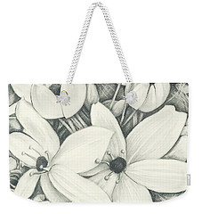 Weekender Tote Bag featuring the drawing Flowers Pencil by Melinda Blackman