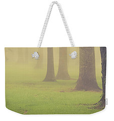 Weekender Tote Bag featuring the photograph Foggy Trees Pano by Joye Ardyn Durham