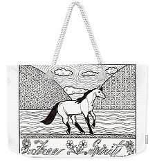 Weekender Tote Bag featuring the drawing Free Spirit by Wendy Coulson