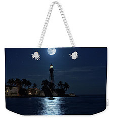 Weekender Tote Bag featuring the photograph Full Moon Over Hillsboro Lighthouse In Pompano Beach Florida by Justin Kelefas