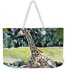 Weekender Tote Bag featuring the painting Giraffe by Kovacs Anna Brigitta