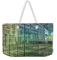 Weekender Tote Bag featuring the photograph Glass Panels At Le Grande Arche by Patricia Hofmeester