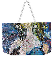 Weekender Tote Bag featuring the painting God Bless The Baby by Reina Resto