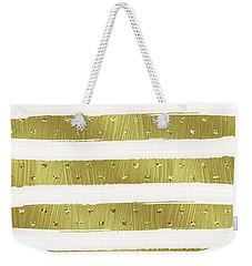 Gold Hearts Stripes Weekender Tote Bag