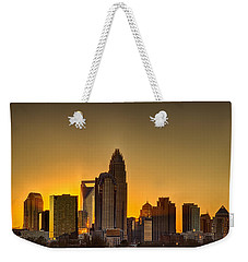 Golden Charlotte Skyline Weekender Tote Bag