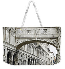 Gondolas Going Under The Bridge Of Sighs In Venice Italy Weekender Tote Bag
