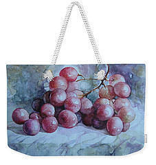 Weekender Tote Bag featuring the painting Grapes... by Elena Oleniuc