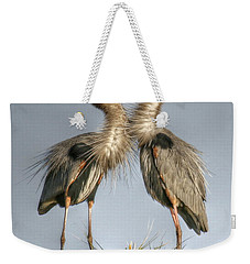 Great Blue Heron Couple Weekender Tote Bag by Myrna Bradshaw