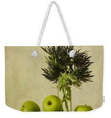 Green Apples And Blue Thistles Weekender Tote Bag by Priska Wettstein