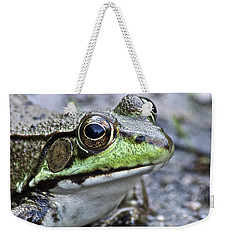 Green Frog Weekender Tote Bag by Michael Peychich