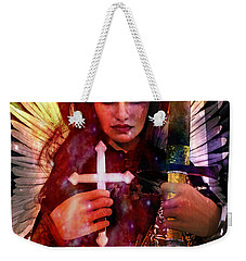 Weekender Tote Bag featuring the painting Guardian Angel 7 by Suzanne Silvir