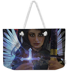 Weekender Tote Bag featuring the painting Guardian Angel 8 by Suzanne Silvir