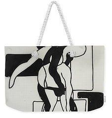 Weekender Tote Bag featuring the drawing Gymnast by Erika Chamberlin