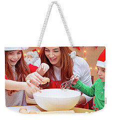 Happy Family Preparing For Christmas Weekender Tote Bag