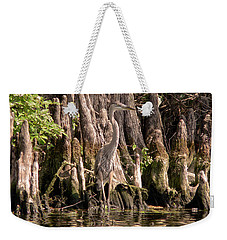 Weekender Tote Bag featuring the photograph Heron And Cypress Knees by Steven Sparks