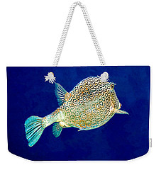 Weekender Tote Bag featuring the photograph Honeycomb Cowfish by Perla Copernik