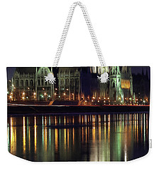 Hungarian Parliament By Night Weekender Tote Bag
