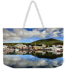 Husavik Harbor Weekender Tote Bag by Alexey Stiop