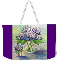 Weekender Tote Bag featuring the painting Hydrangea  by Rosemary Aubut