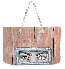 Weekender Tote Bag featuring the painting I See You by Edwin Alverio