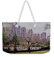 Weekender Tote Bag featuring the photograph Ice Skaters On Wollman Rink by Sandy Moulder