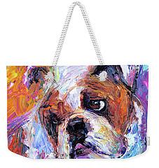 Impressionistic Bulldog Painting  Weekender Tote Bag by Svetlana Novikova