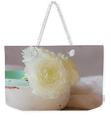 Weekender Tote Bag featuring the photograph In A White Bowl by Kim Hojnacki