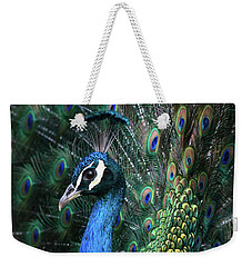 Indian Peacock With Tail Feathers Up Weekender Tote Bag