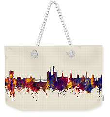 Weekender Tote Bag featuring the digital art Iowa City Iowa Skyline by Michael Tompsett